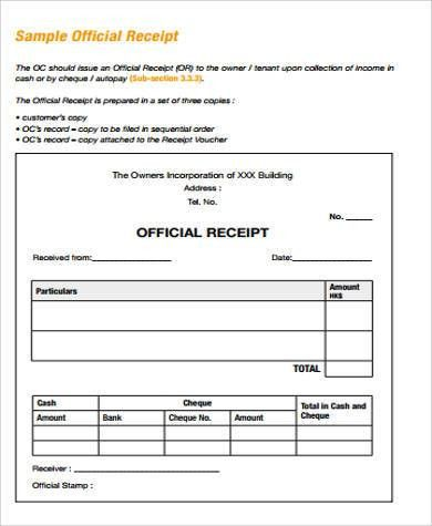 Receipt Sample - 11+ Examples in Word, PDF