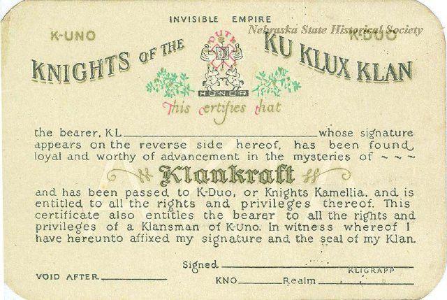13338-15 - Card, Membership; KKK, Knights Kamellia, Blank