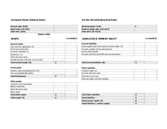 Balance sheet with financial ratios - Office Templates