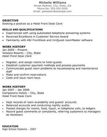 resume hotel front desk clerk objective examples for 21 amusing go ...