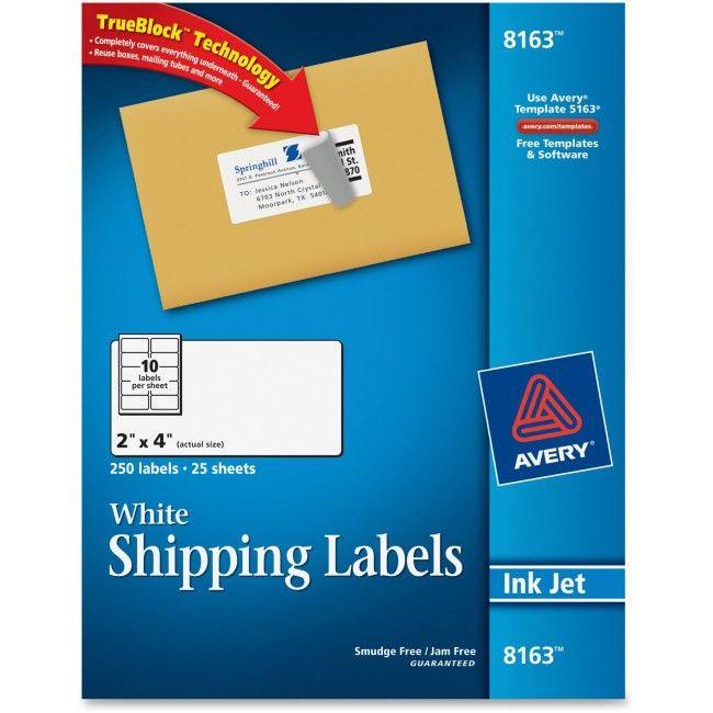 Avery 8163 White Inkjet Shipping Labels Permanent Adhesive - 2 ...