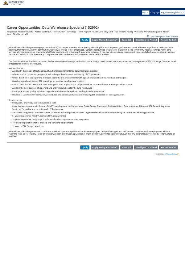 Data Warehouse Specialist job at Johns Hopkins Bayview Medical ...