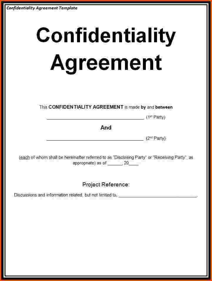 Non Disclosure Agreement Template Word | Template Design