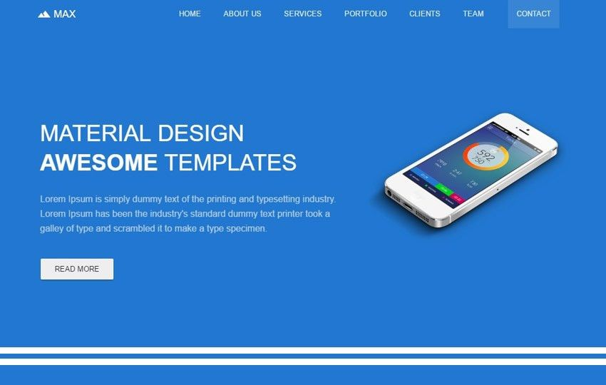 Free Material Design Template by the WebThemez