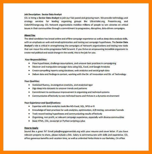 database analyst job description 1 position description