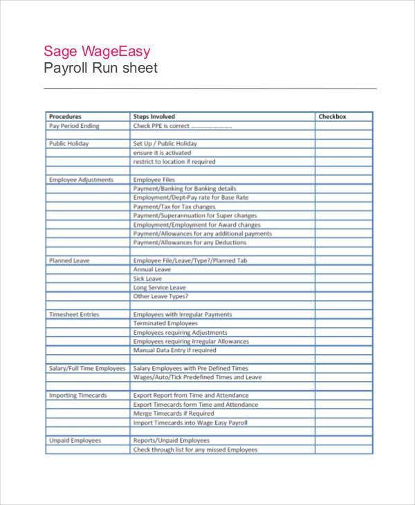 Run Sheet Templates - 9+ Free Sample, Example, Format | Free ...