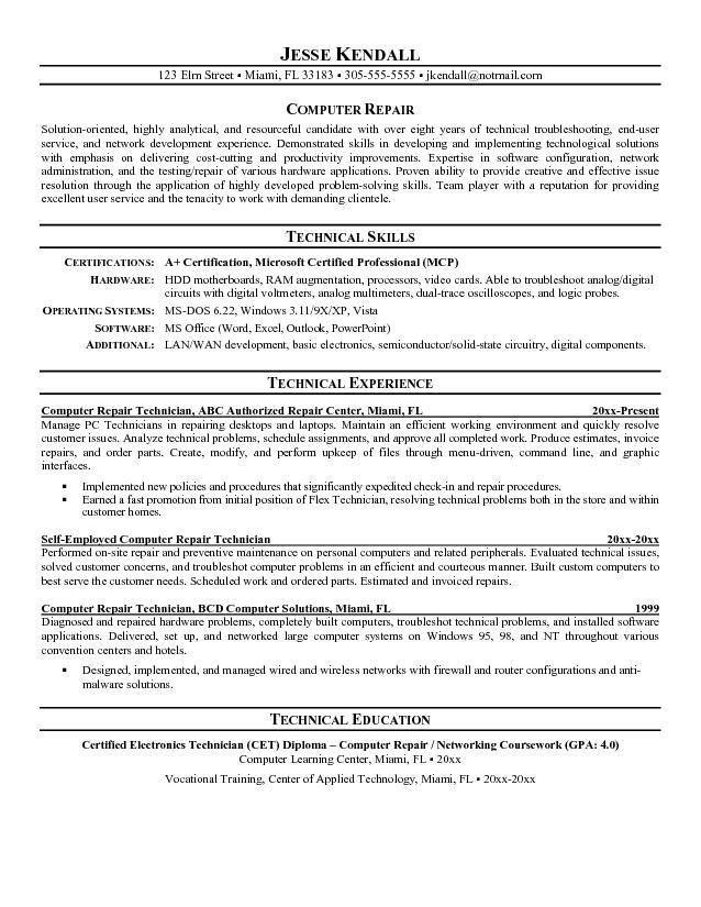 Cable Technician Resume | Resume Badak