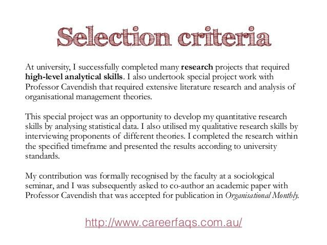 selection criteria cover letters