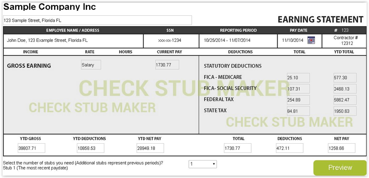 How To Make A Pay Stub - Check Stub Maker