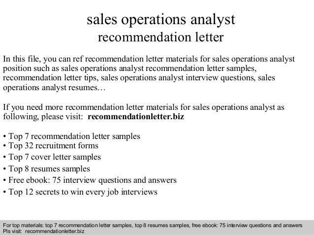 Cover letter sales operations analyst need help making cover ...