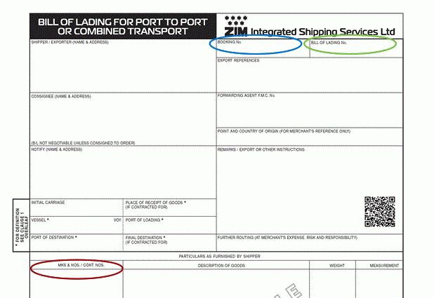 ZIM | Help - Bill of Lading - Container No.