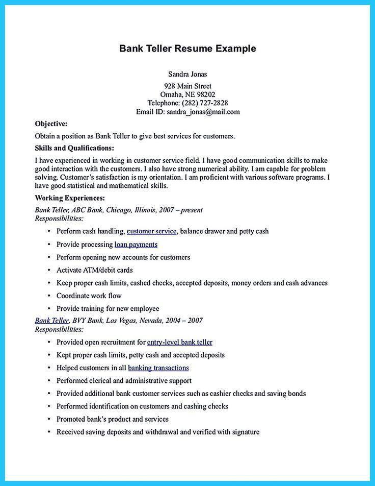 Bank Teller Skills, resume : resume sample for bank teller job ...