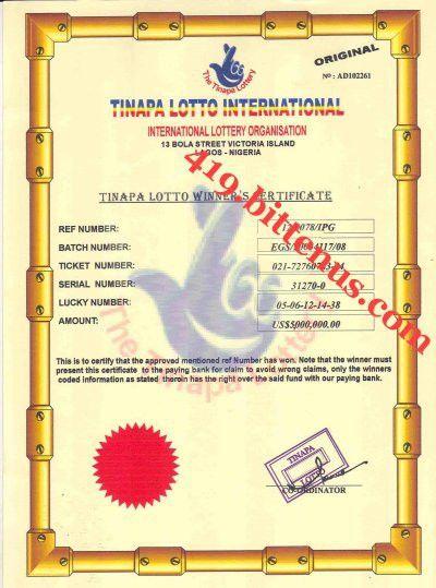 419.bittenus.com: Lottery Winning Certificates