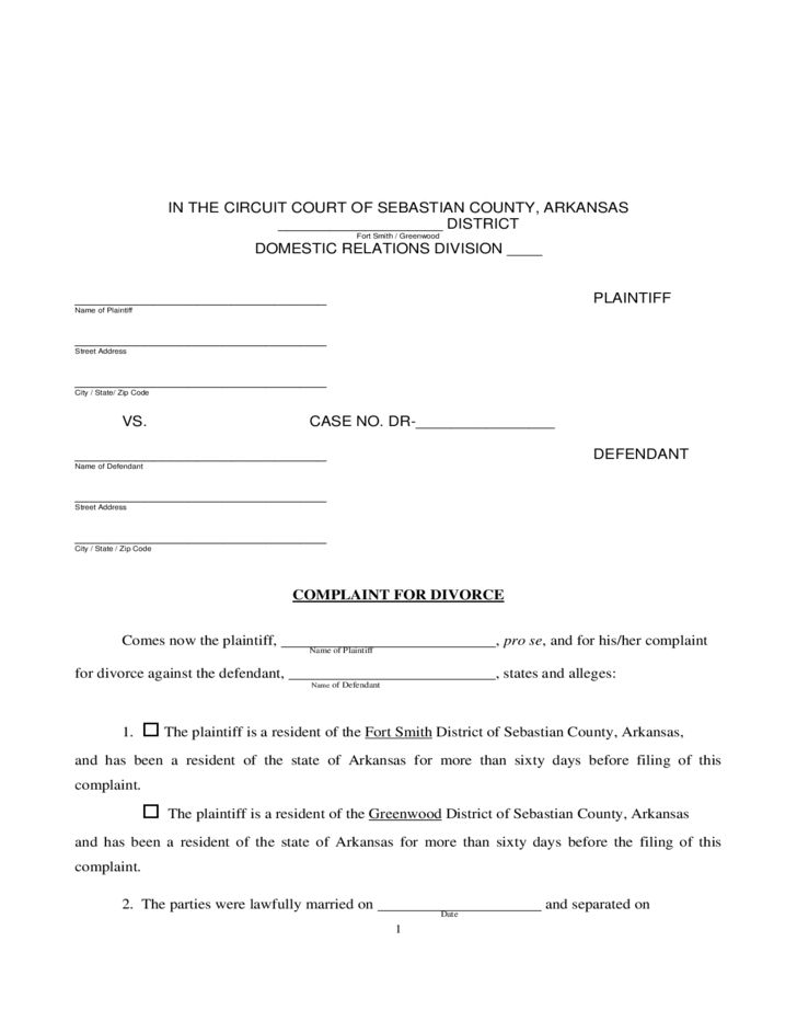 Divorce Information and Forms - Arkansas Free Download