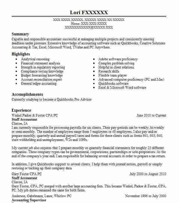 Best Staff Accountant Resume Example | LiveCareer