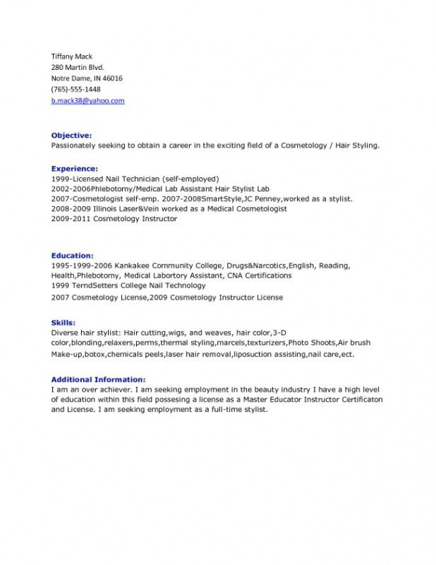 Hair Stylist Resume Objective – Resume Examples