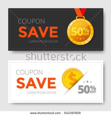 Sale Coupon Template Gold Medal Monet Stock Vector 642397609 ...