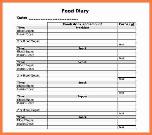 6+ food log template | Marital Settlements Information