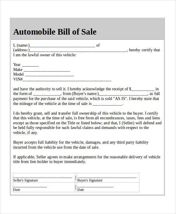 Blank Sample Bill of Sales - 9+ Free Sample, Example Format Download