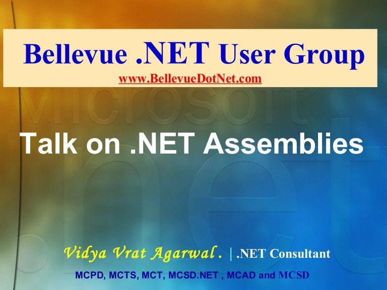 Talk on .NET assemblies