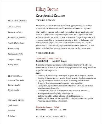 Receptionist Resume Skills - cv01.billybullock.us