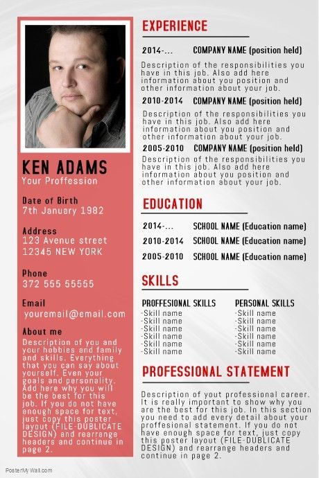 Simple Professional Resume/CV poster flyer template | PosterMyWall