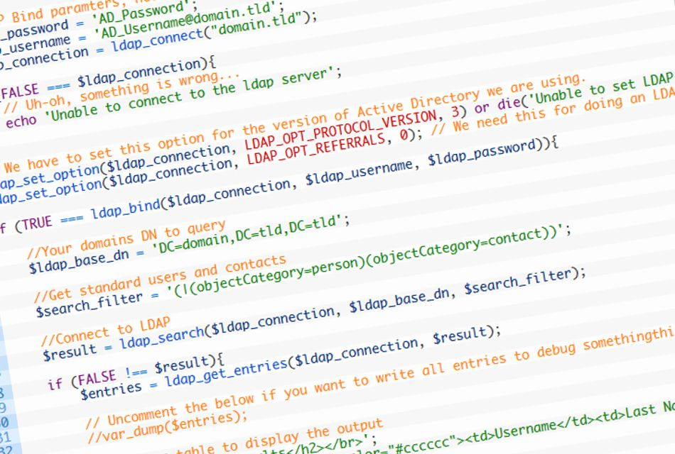 A PHP example of how to get data from Active Directory via LDAP ...