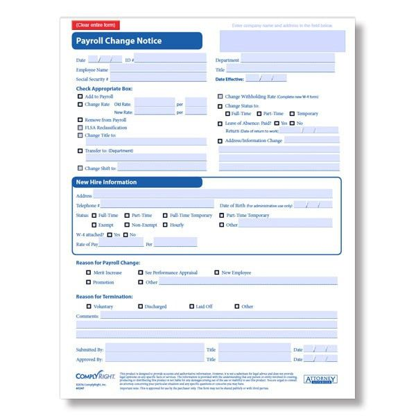 Payroll Change Form for Employees