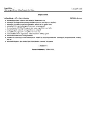 office clerk resume sample entry level office clerk resume sample