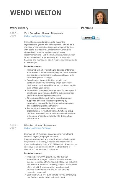 Vice President, Human Resources Resume samples - VisualCV resume ...