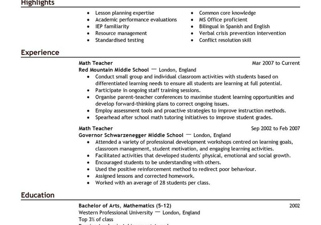 Preschool Teacher Resume With No Experience. best 20 sample resume ...