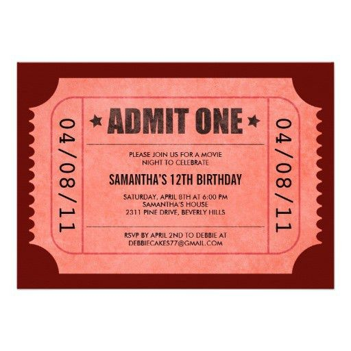 Personalized Admit one Invitations | CustomInvitations4U.com