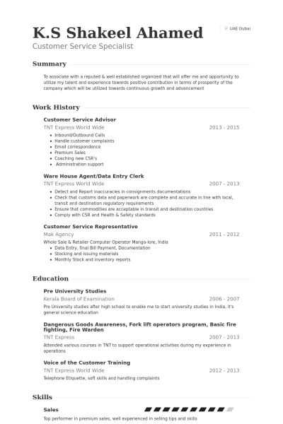 Customer Service Advisor Resume samples - VisualCV resume samples ...