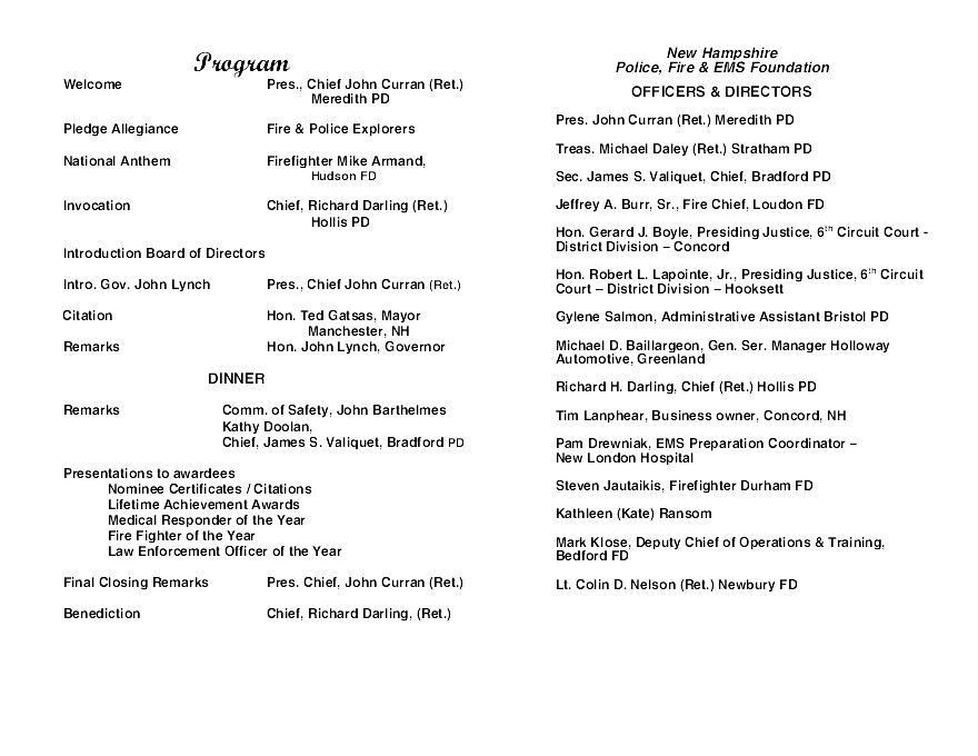 2011 Banquet Program | New Hampshire Police, Fire, & EMS Foundation