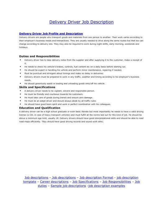 Delivery Driver Job Description And Money You Can Make Inside 21 ...