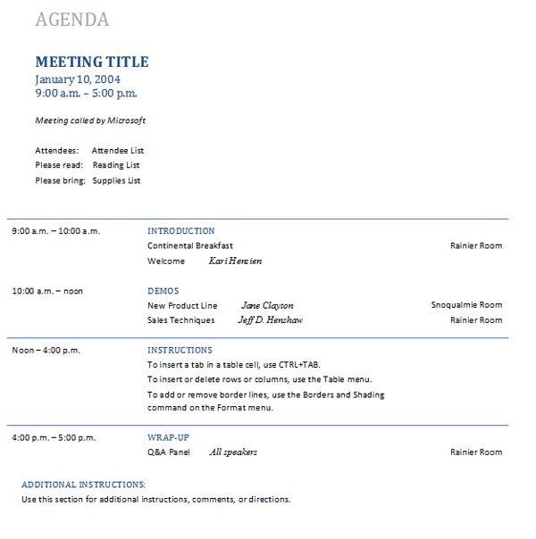 staff meeting agenda template | Professional Templates