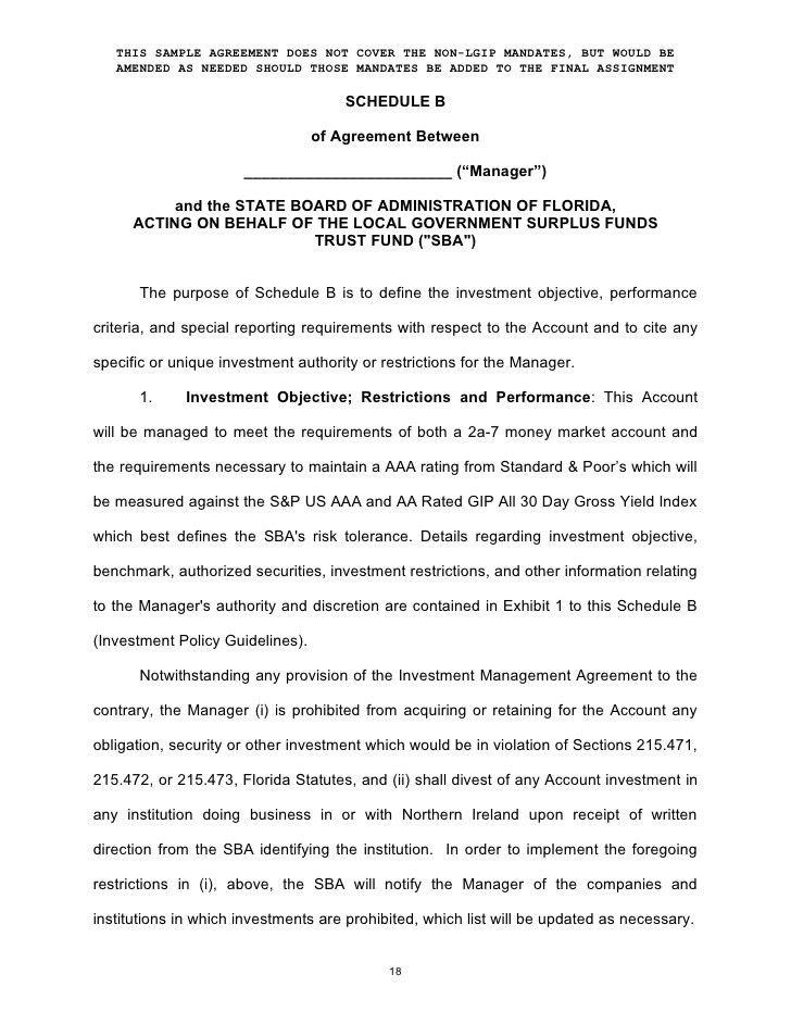 Enhanced Cash (Investment Management Agreement Form)