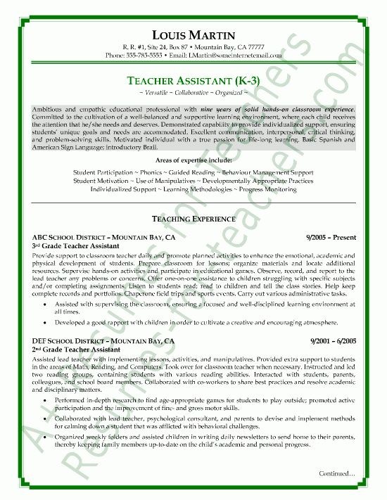 sample teacher resumes | View page two of this teacher assistant ...