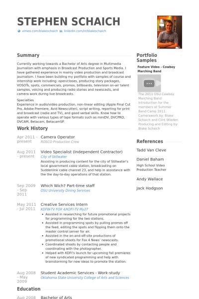 Camera Operator Resume samples - VisualCV resume samples database