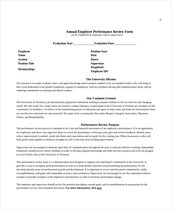 Employee Review Templates - 10+ Free PDF Documents Download | Free ...
