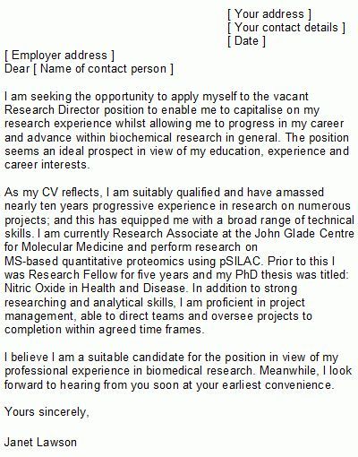 Scientist Cover Letter Sample | Ideal for all Sciences