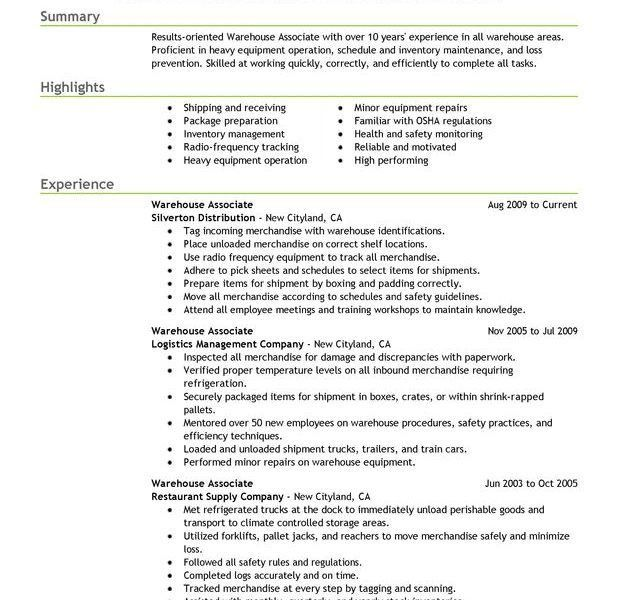 Warehouse Worker Resume. With Warehouse Worker Resume | Resume ...