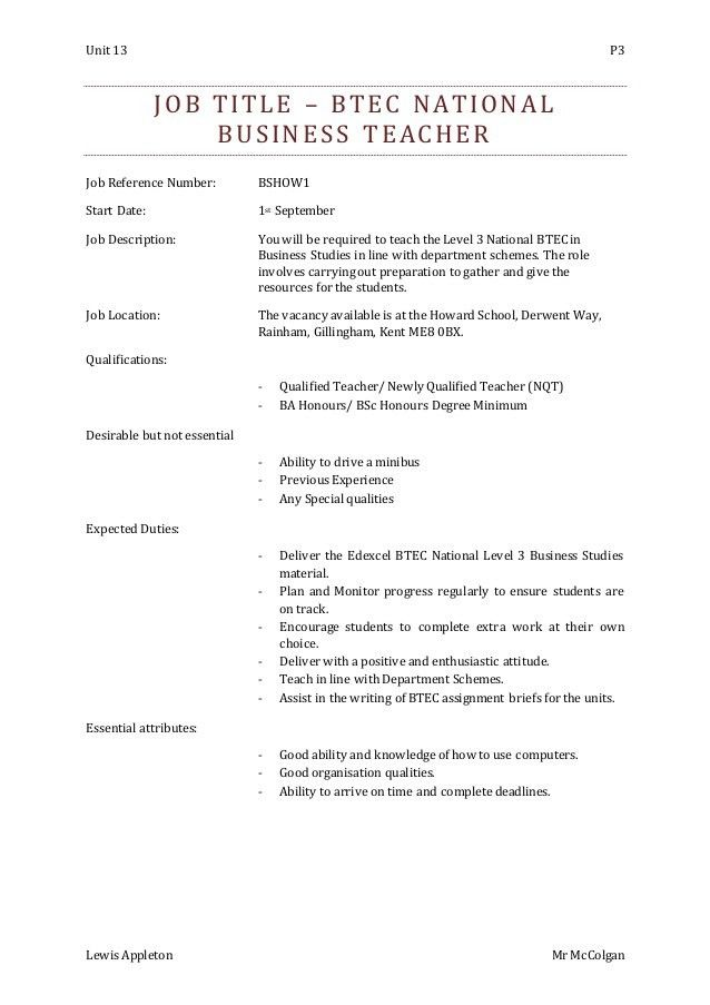 Teacher Job Description Template - Ecordura.com