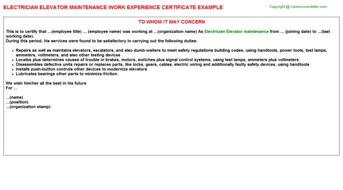 Electrician Elevator Maintenance Work Experience Letters