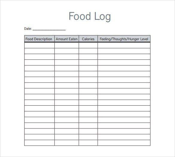 excel food log