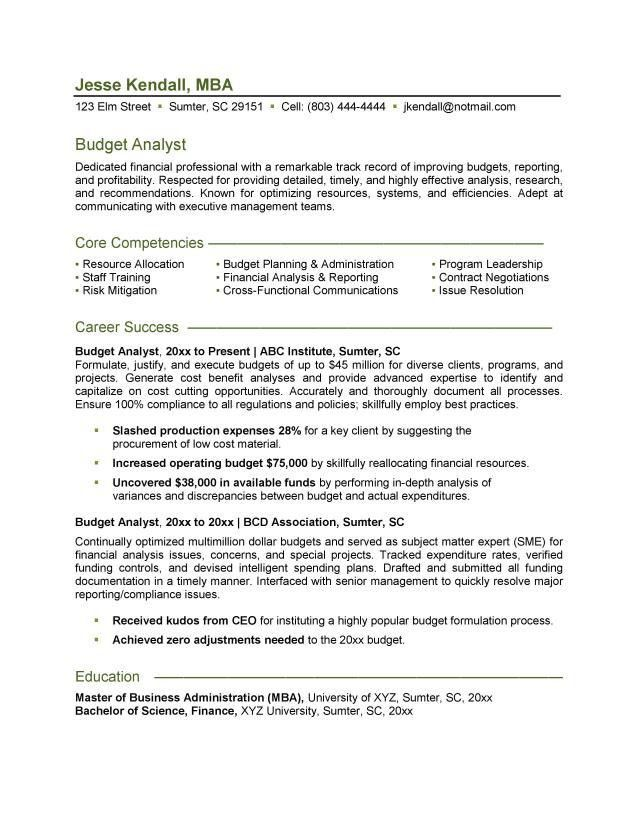 Free Budget Analyst Resume Example