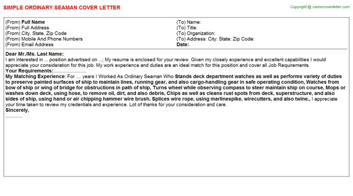 Ordinary Seaman Cover Letter