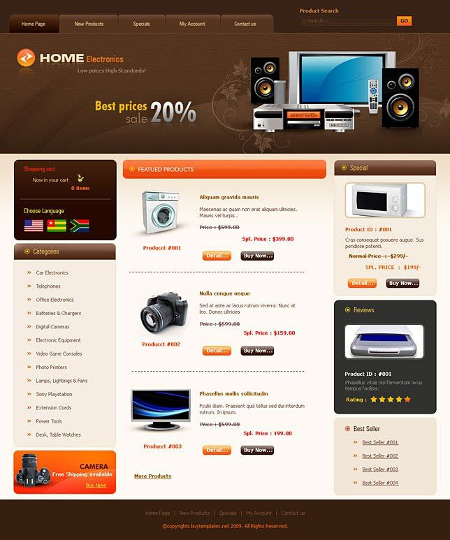 Simple css website templates for home electronics