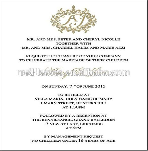 Wedding Invitation Letter Sample Kerala | Letterhead Template Ai Free
