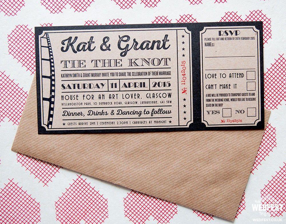Vintage Movie / Cinema Themed Wedding Stationery - When Kat ...